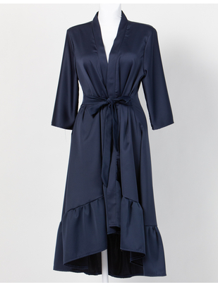 MAKE Dark Blue Asymmetrical Robe with Ruffles