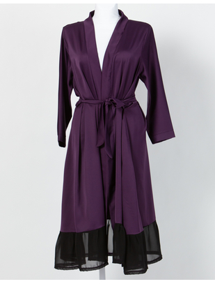MAKE Dark Purple Robe with Black Chiffon Ruffles