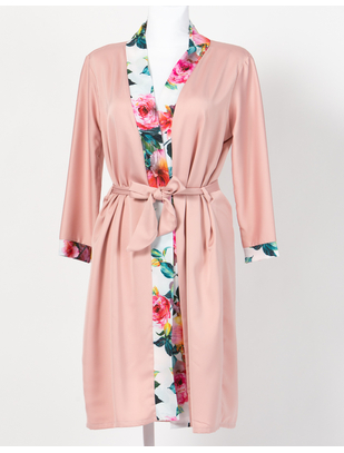 MAKE Light Old Pink Robe with Colorful Edge