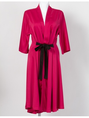 MAKE Bright Pink Robe with Black Belt