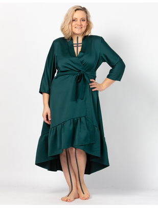 MAKE Emerald Green Asymmetrical Robe with Ruffles