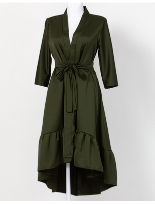 MAKE Moss Green Asymmetrical Robe with Ruffles