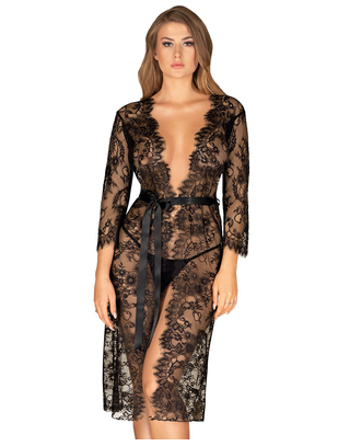 Obsessive black long lacy peignoir