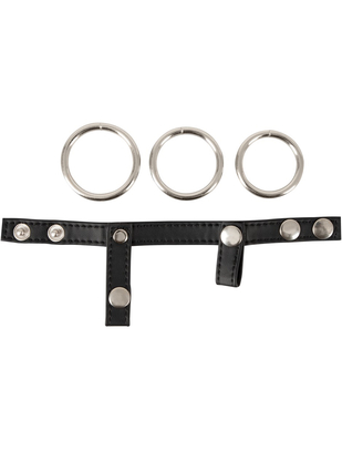 Bad Kitty metal cock rings with faux leather strap