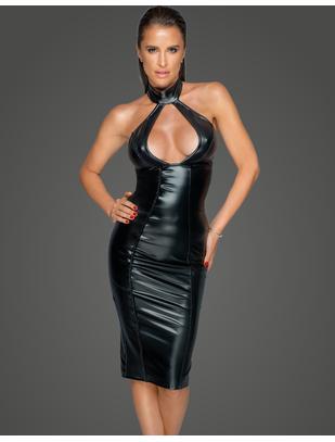 Noir Handmade black matte look mini dress with decolletage