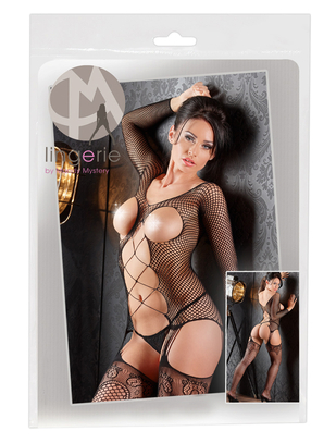 Mandy Mystery Lingerie melns tīkliņauduma kaķenes tērps ar stringiem