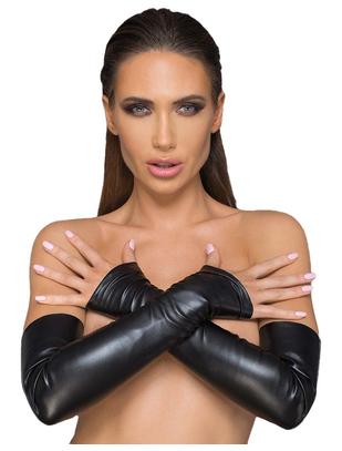 Noir Handmade Elastic Eco Leather Fingerless Gloves