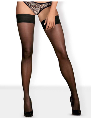 Obsessive Cheetia Black Hold-up Stockings