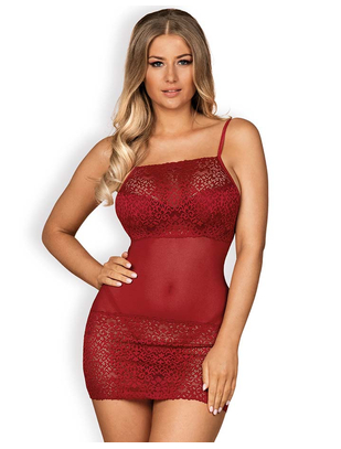 Obsessive Lividia Red Sheer Chemise with Lace