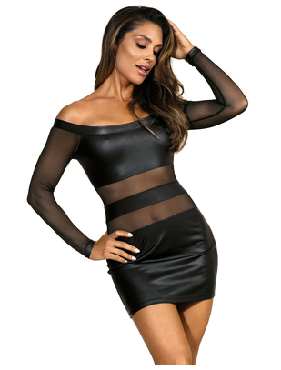 Axami Party At Ibiza melna matēta auduma minikleita