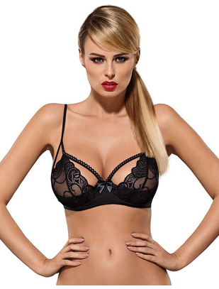 Obsessive black embroidered bra