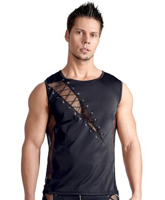 Svenjoyment black muscle shirt with lacing and mesh