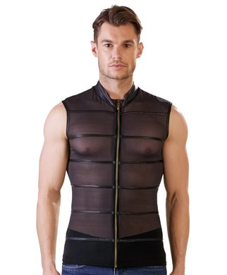 NEK black powernet muscle shirt with zipper